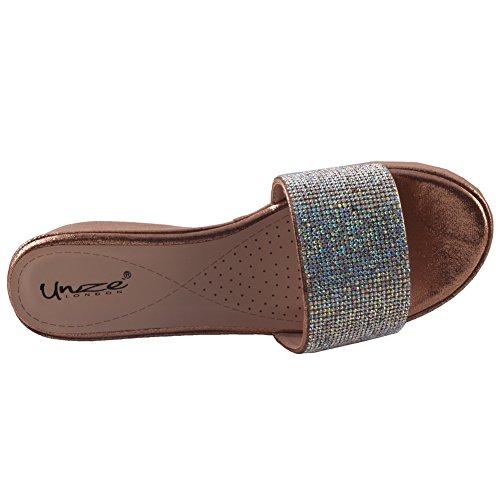 Unze Femmes de Aruga ' Shimmery Wedge Sandals Brun