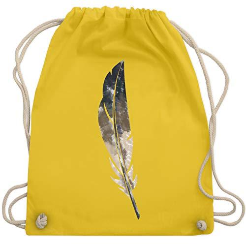 Statement Shirts - Wasserfarben Feder - Unisize - Gelb - WM110 - Turnbeutel & Gym Bag