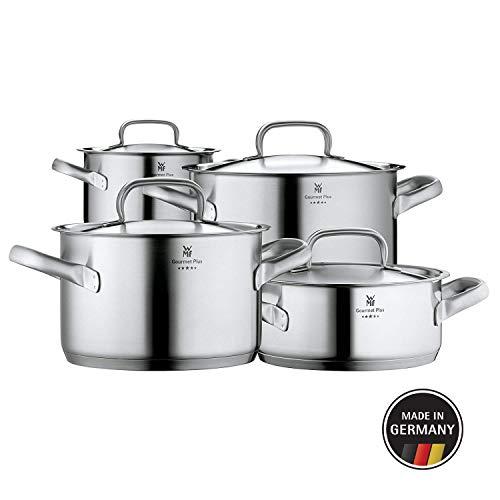 WMF Gourmet Plus Topfset 4-teilig mit Metalldeckel, Kochtopf, Cromargan Edelstahl mattiert, Innenskalierung, Dampföffnung, induktionsgeeignet