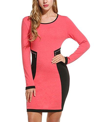 Zeagoo Kontrast Kleid Damen Patchwork Bodycon Stretch Lange Ärmel Figurbetontes Strickkleid mit Reißverschluss Details (Rot) (Strickkleider Für Frauen)
