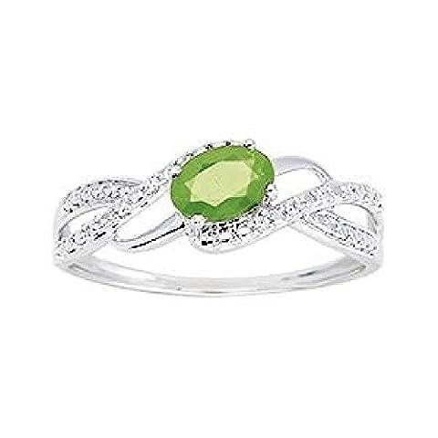 So Chic Bijoux © Bague Anneau Femme Vagues Solitaire Emeraude Verte & Diamants 0,04 ct Or Blanc 375/000 (9 carats) - Taille