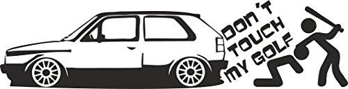 """Preisvergleich Produktbild 1 x 2 Plott Aufkleber """"Don´t Touch My Golf"""" Tuning Sticker VW Volkswagen Mk1 Fun"""