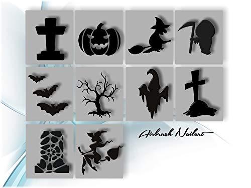 120 Airbrush-Schablonen Einzelmotive - Airbrush Nail Art selbstklebend im Mix Halloween