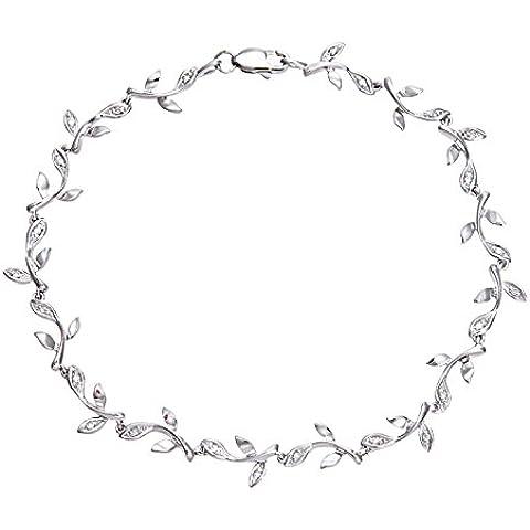Revoni - Braccialetto in oro bianco 9 kt con diamanti motivo a foglia