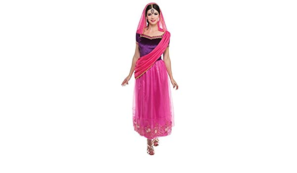 Damen Rosa Indian Prinzessin Bollywood aus aller welt Kostüm Kleid ...