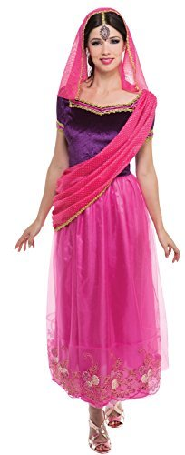 Damen Rosa Indian Prinzessin Bollywood aus aller welt Kostüm Kleid Outfit 10-12-14