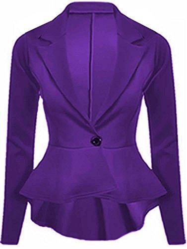 Crazy Girls Blazer pour femme avec manches longues volants, blazer peplum, avec bas du dos déplacé Violet - Lilas