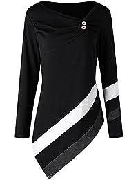YTJH Mujeres Camisetas de Manga Larga Cuello Sesgado Túnica Camiseta  Elegante Desigual Blusa Suelta con Raya 64a78a13787
