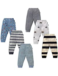 NammaBaby Unisex Baby Cotton Mixed Print Pyjama Rib Pants Multi-Coloured - Pack of 6