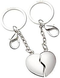 BRUBAKER Joined Heart - Llavero de corazón para compartir