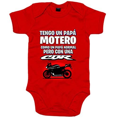 Body bebé tengo un papá motero moto CBR - Rojo, 12-18 meses