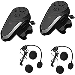ENCHICAS BT-S3-2x Intercom Moto Duo pour 2 Casques Bluetooth Kit Main Libre Headphones Intégrable au Casque Moto & Ski