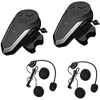 2x Auriculares Bluetooth para Moto, ENCHICAS BT-S3 Manos Libres Intercom Comunicadores Intercomunicador Casco Moto con FM