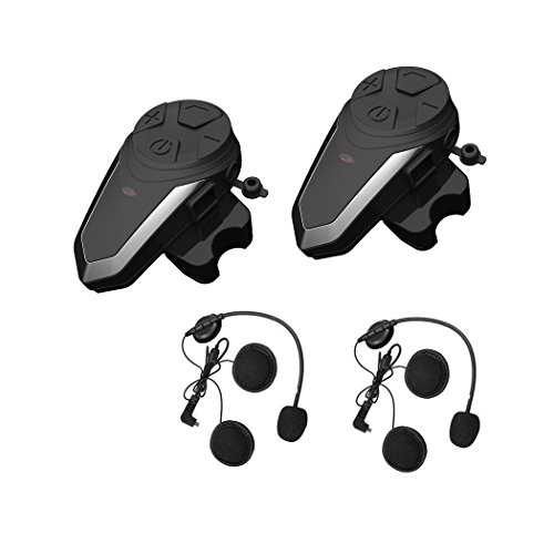 2x Interfono Moto Bluetooth, ENCHICAS BT-S3 1000M Auricolare Moto Bluetooth Casco Cuff