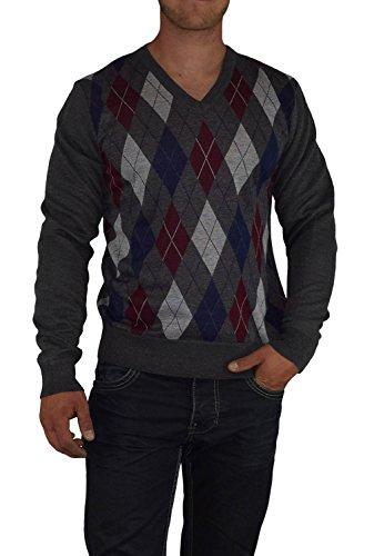 S&LU toller Herren-Feinstrick-Pullover in zeitlosem Karo-Muster mit V-Ausschnitt Größe M-XXXL (3XL) Hellgrau