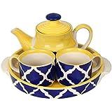 VarEesha Ceramic Moroccan Blue Cups & Kettle Gift Set/Tea/Coffee Cups - Stoneware Crockery - Gifts