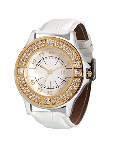 Excelencia WW-11-White Women's Watch with Big Trendy Dial and rhinestones