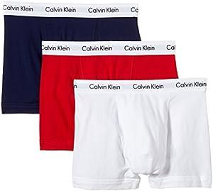 Calvin Klein Herren Boxershorts TRUNK, 3er Pack U2662G, Ohne Eingriff, Gr. 5 (M), Mehrfarbig (I03 White, Red ginger, Pyro blue)