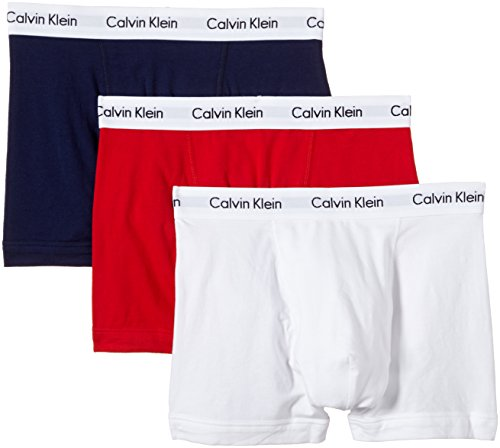 Calvin Klein Herren Boxershorts, 3er Pack, Mehrfarbig (I03 White/Red Ginger/Pyro blue), Medium