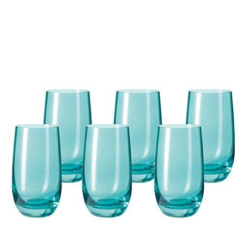 Leonardo 014906 Set 6 Becher Wassergläser groß Sora, spülmaschinenfest, Laguna türkis/blau -