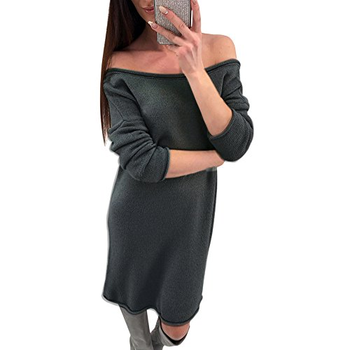 Frauen Mode Solider O-Neck Pullover Langes Lockeres Langärmliges Pulloverkleid