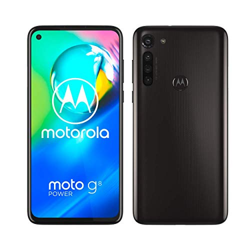 moto g8 power Dual-SIM Smartphone (6,4-Zoll-Max Vision-FHD+-Display, 16-MP-Hauptkamera, 64 GB/4 GB, Android 10) Schwarz inkl. Schutzcover & KFZ-Adapter [Exklusiv bei Amazon]