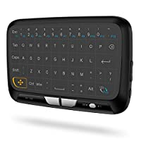 ‏‪H18 2.4GHz Wireless Keyboard Full Touchpad Remote Control Keyboard Mouse Mode with Large Touch Pad Vibration Feedback for Smart TV Android TV Box PC Laptop‬‏