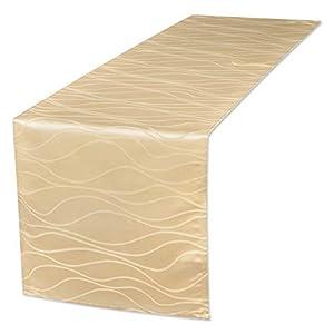 EUGAD Abwaschbar Tischläufer/Tischdecke Wasserabweisend Damast Streifen Wellen Design mit Saum, Einfache und Elegante Heimtextilien für Den Innen- und Außenbereich (Cappuccino, 40x140 cm)