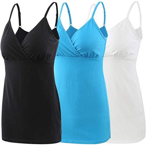 ZUMIY Schwangerschaft Stillen Top, Damen Baumwolle Umstandskleidung Schlaf Ärmellos Cami mit Verstellbaren Trägern (Medium, Black+White+Lake Blue/ 3-pk)