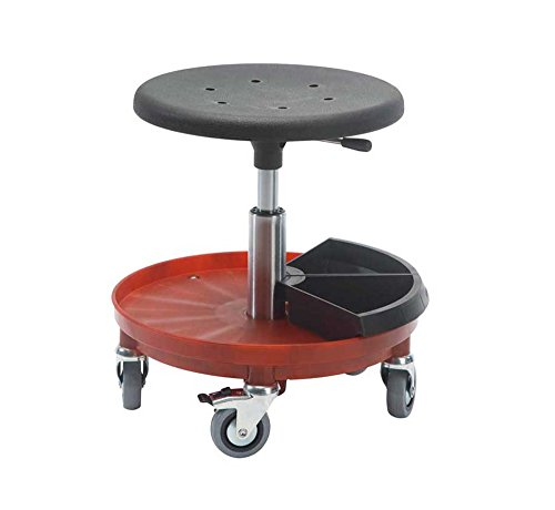 Rollhocker Arbeitshocker Hocker Werkstatthocker Drehhocker Montagehocker mit Rollen, Sitzhöhe 37-50cm, 360° drehbar, mit hochfester Nylonbasis in 5 Farben, vielseitig einsetzbar (Nylonbasis rot)