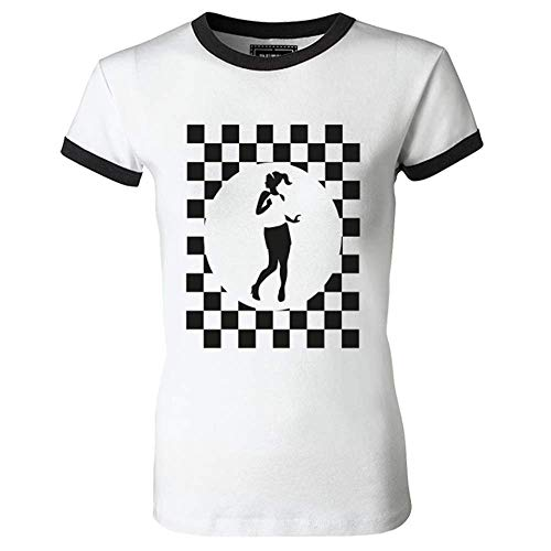 Rude Girl in Checked Circle Ladies Ringer T Shirt