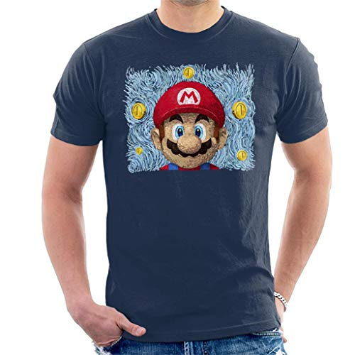 Mario Van Gogh Style T-shirt for Men, navy blue