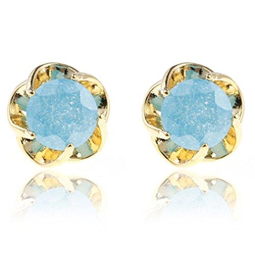Yazilind deslumbrante oro lleno Ronda Azul cortada perfecto Circonita Mensaje garra semental Pendientes