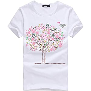 Clemunn Blouse Women Csual Summer Tree Printed Short Sleeve Top T-Shirt Blouse Beach Shirt