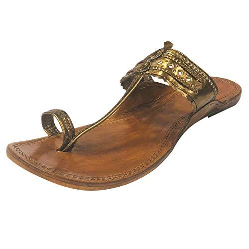 Step n stile indiano fatto a mano in pelle kolhapuri pantofole mojadi jutti kurti sandali, marrone (dark copper), 41