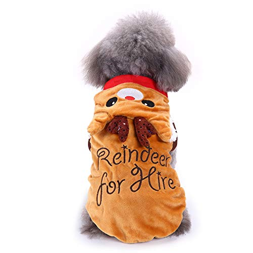 (Amakunft Hunde-Party-Kostüm, Haustier Hund Pyjama Festival Santa Claus Rudolph Hirsch Kleid Kleidung für Weihnachten Warmer Jumpsuit Hoodie Interessanter Mantel)