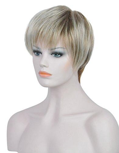 Charmant Weiblich Kurz Glatt Gewellt Neu Blond Mit Braun Wurzel Haar Perücke (Blondes Haar Spray Kostüm)