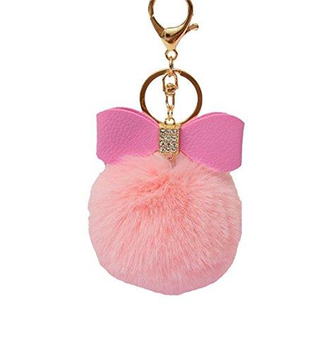 Gluckliy Plüsch Ball Bow Knot Keychain Schlüsselanhänger Schlüsselring Auto Schlüssel Handtaschen Taschen Beutel Anhänger Kette (Rosa) (Bow Handtasche Rosa)