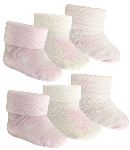 EveryKid Ewers 6er Pack Babysöckchen Mädchensöckchen Erstlingssöckchen Sparpack Geschenk Geburt unisex für Babys (EW-205000-S17-BM1-001-001-OS) in Latte/Baby Rose, Größe OS inkl Fashionguide