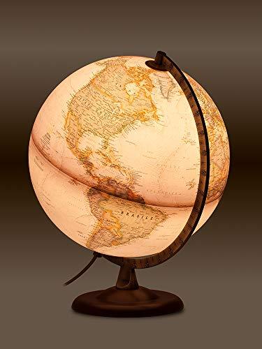 National Geographic-Globus-Walnuss und Metall, beleuchtet, in spanischer Sprache, 30cm, Sepia (mapiberia Gold Executive)