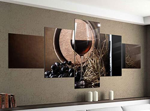 Acrylglasbilder 5 Teilig 200x100cm Wein Flasche Rotwein Fass Trauben Glas Druck Acrylbild Acryl Acrylglas Bilder Bild 14F553