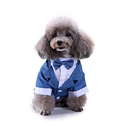 YUNSW Smoking Anzug Haustier Hund Mantel Schlichtes Design Fliege Welpen Kleidung Hochzeitsfest Anzug Winter Warme Kleidung Blau XL