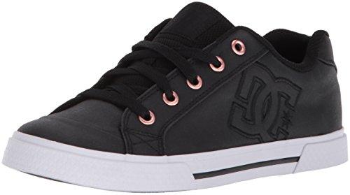 DC Women's Chelsea TX SE Skate Shoe, Black/Black/White, 7 UK