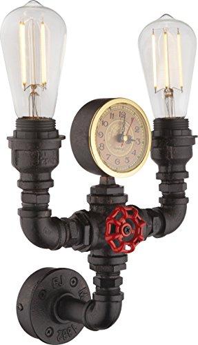 Wand Strahler Wasser Rohr Leuchte Quartz Uhr Retro Lampe Beleuchtung 2-flammig Globo 43000W2