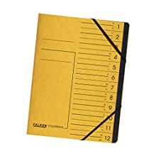 Original Falken Premium Index Folder, Made in Germany, Extra Strong Colorspan Cardboard DIN A4, 12 Compartments and 2 Elastic Bands with Organisational Print, Yellow