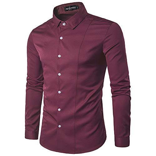 Kuson Herren Langarm Hemd einfarbig klassisch Hemden Business slim Weinrot Gr.XL