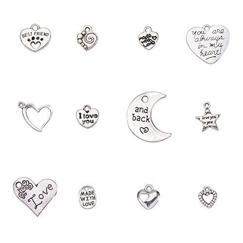 Pandahall elite 60 pezzi 12 stile argento antico lega tibetana charms ciondoli luna delle stelle cuore tema fascino per gioielli fai da te