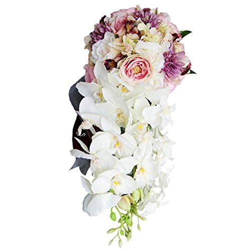 Matrimonio sposa cascata bouquet da sposa festa di seta fiore fatto a mano - #1