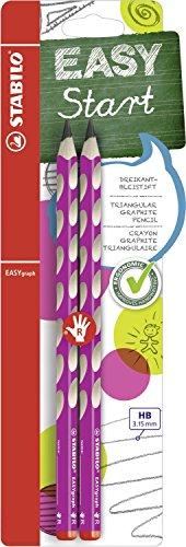 Ergonomischer Dreikant-Bleistift für Rechtshänder - STABILO EASYgraph in pink - Härtegrad HB - 2er Pack