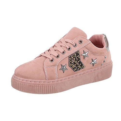 Ital-Design Sneakers Low Damenschuhe Sneakers Low Sneakers Schnürsenkel Freizeitschuhe Pink SP1810